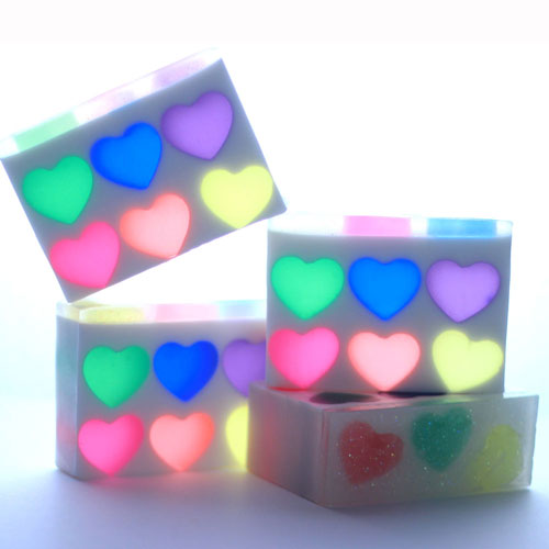 Rainbow Hearts embedded soap project